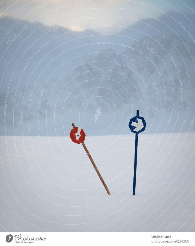 Wo bitte geht's zum Strand? weiß blau rot Winter kalt Schnee Berge u. Gebirge Nebel Alpen Pfeil frieren Richtung Schneelandschaft Wegweiser schlechtes Wetter