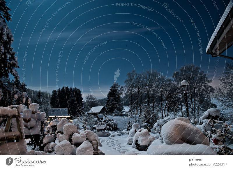 Winterzeit ist Gartenzeit Himmel Nachthimmel Stern Schnee Menschenleer Gebäude Dach Gefühle Stimmung Farbfoto Gedeckte Farben Außenaufnahme Mondschein