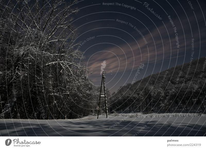 Wintergeist Vol2 ...ohne Geist! Umwelt Natur Landschaft Wolken Nachthimmel Wetter Schnee Gefühle Stimmung Telefonmast Farbfoto Gedeckte Farben Menschenleer