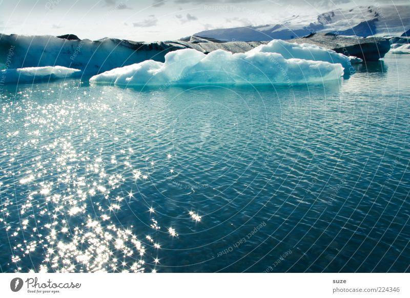 Eiszauber Ferien & Urlaub & Reisen Umwelt Natur Landschaft Wasser Klima Klimawandel Frost Küste See Gletschereis Gebirgssee außergewöhnlich kalt glänzend Island