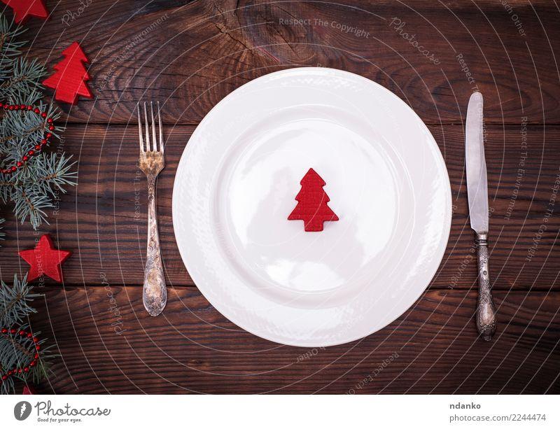 leere weiße Platte und Eisen Vintage Besteck Mittagessen Abendessen Teller Messer Gabel Dekoration & Verzierung Tisch Küche Restaurant Feste & Feiern