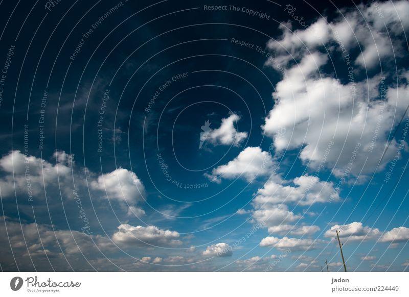 blau Ferne Freiheit Natur Luft Himmel Wolken Klima Schönes Wetter außergewöhnlich fantastisch Unendlichkeit natürlich schön ästhetisch chaotisch Umwelt Leitung