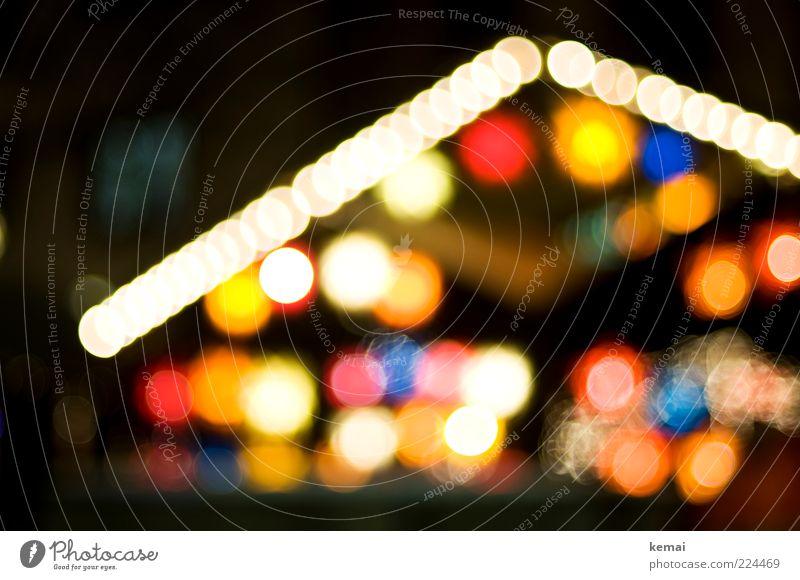 Weihnachtsmarktsaisonende Feste & Feiern Buden u. Stände Licht Lichterscheinung Beleuchtung Haus Hütte leuchten mehrfarbig Lichtpunkt Lampion Lichterkette