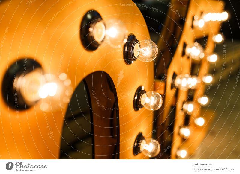 Glühbirne Dekoration & Verzierung Holz gelb gold schwarz Design Kunst Knolle Lampe hell altehrwürdig Elektrizität Licht Farbfoto