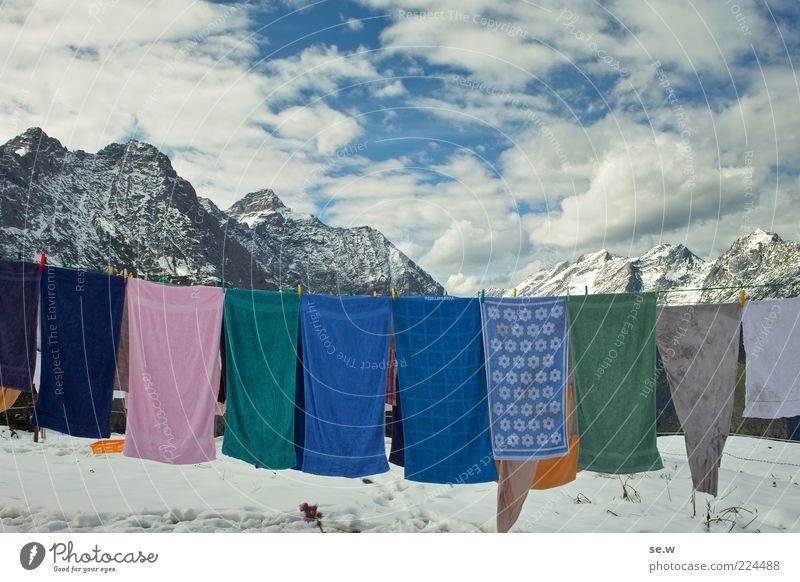 Waschtag Himmel blau weiß Winter Wolken ruhig Schnee Herbst Berge u. Gebirge Freiheit außergewöhnlich einzigartig Reinigen Alpen Sehnsucht frieren