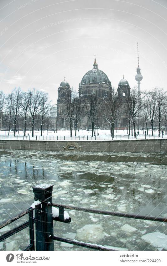 Spree, Dom, F-Turm Wasser Baum Wolken Winter kalt Schnee Berlin Landschaft Architektur Gebäude Küste Park Wetter Eis Kirche Frost