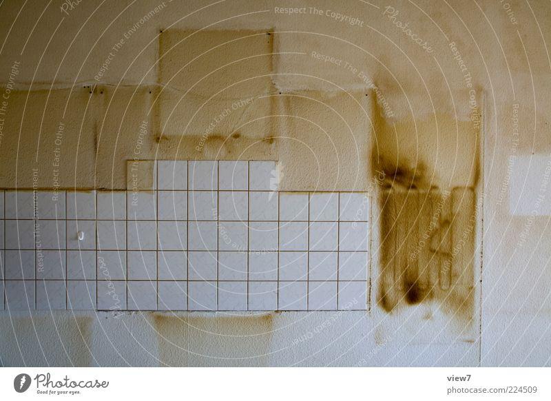 Gebrauchsspuren Dekoration & Verzierung Raum Küche Mauer Wand Stein Zeichen Linie Streifen alt dreckig dunkel Ekel nachhaltig braun Überraschung Entsetzen