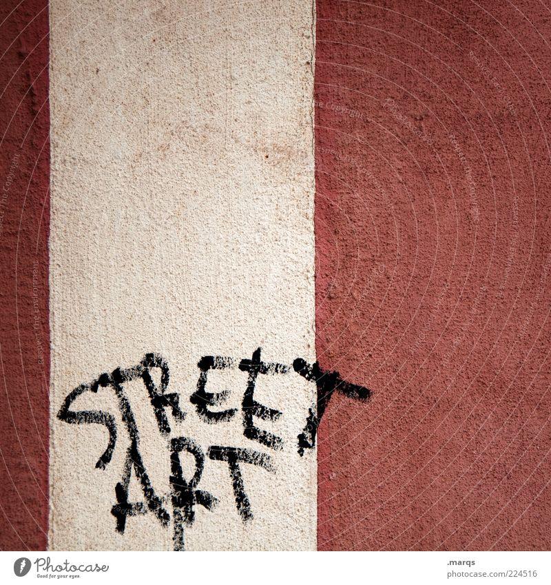 Street.Art weiß rot schwarz Wand Stil Graffiti Mauer Lifestyle Coolness Schriftzeichen Streifen einzigartig Wort trendy Straßenkunst Vandalismus
