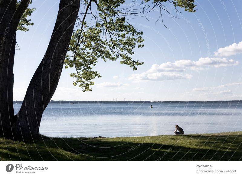 Sommerpause Mensch Himmel Natur Wasser Baum Ferien & Urlaub & Reisen Wolken ruhig Einsamkeit Ferne Erholung Leben Umwelt Landschaft Freiheit Denken