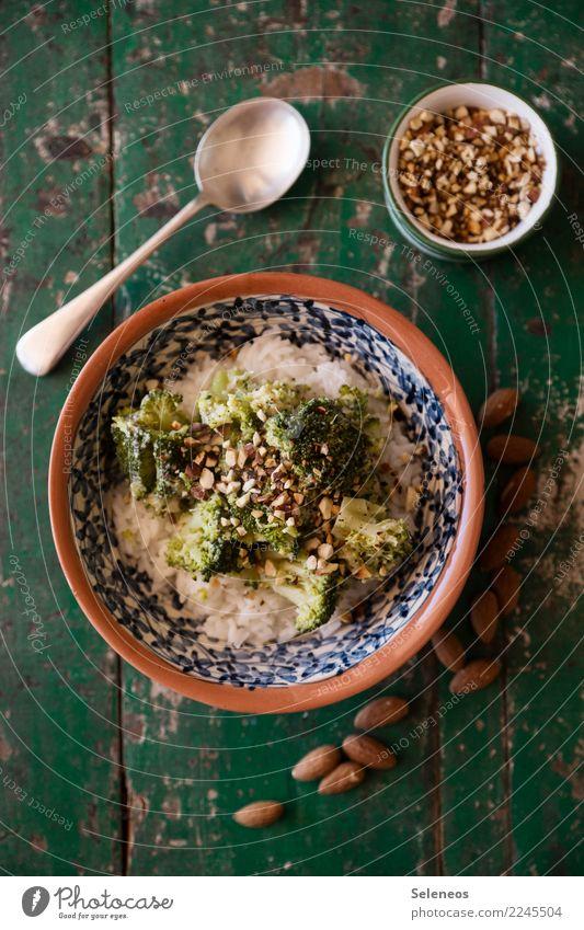 Brokkolireis Lebensmittel Gemüse Mandel Reis Ernährung Essen Mittagessen Abendessen Bioprodukte Vegetarische Ernährung Diät Fasten Vegane Ernährung