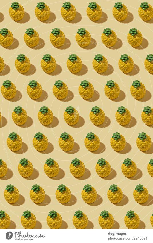 Ananas-Muster Frucht Stil Design Sommer Dekoration & Verzierung Natur Mode frisch natürlich saftig gelb weiß Farbe Hintergrund Lebensmittel tropisch Gesundheit