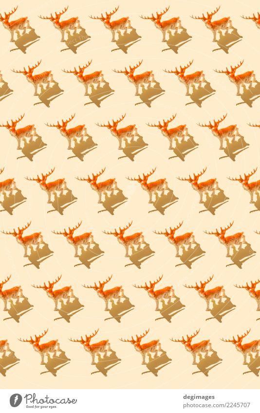 Deer Muster Design Dekoration & Verzierung Feste & Feiern Weihnachten & Advent Kunst Tier Baum Spielzeug Ornament rot Hirsche Hintergrund Konsistenz Feiertag