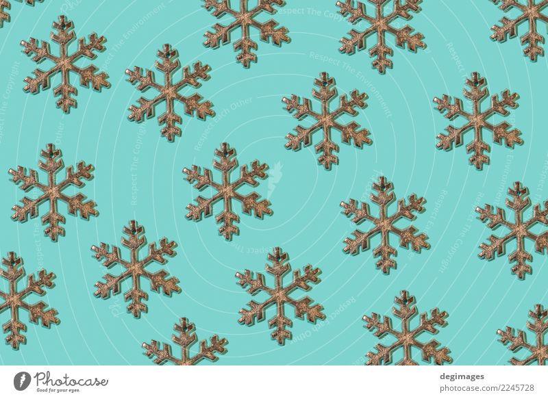 Schneeflocken, die auf Blau wiederholt werden Design Winter Dekoration & Verzierung Tapete Feste & Feiern Weihnachten & Advent Papier Ornament neu blau weiß
