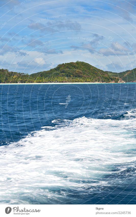 vom Boot und vom Pazifischen Ozean Gebirgshintergrund Himmel Natur Ferien & Urlaub & Reisen blau Sommer schön weiß Landschaft Meer Wolken Freude Strand