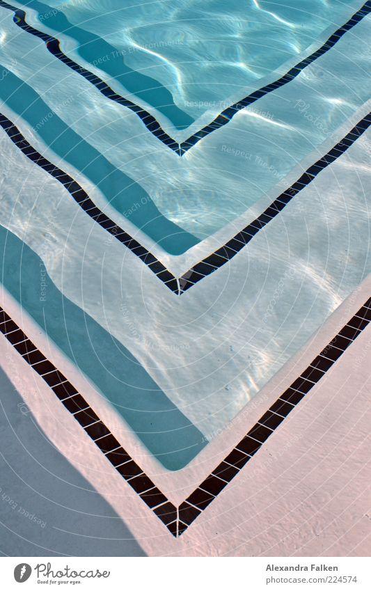Spitzen blau Wasser Ferien & Urlaub & Reisen Sommer Stil Linie nass Treppe Design frisch Ecke Wellness Schwimmbad Fliesen u. Kacheln Sommerurlaub