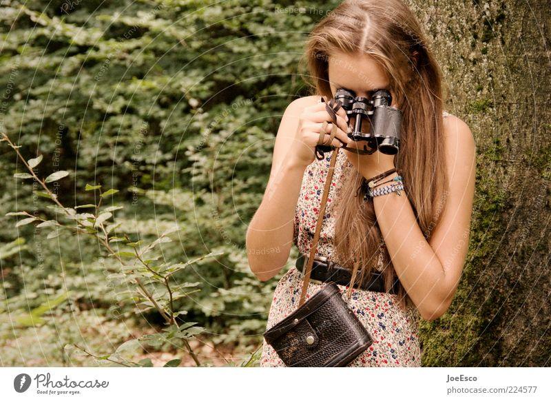zeit für einen rückblick... Frau Mensch schön Baum Pflanze Sommer Blatt Erwachsene Wald Leben Umwelt Stil Mode Freizeit & Hobby blond warten
