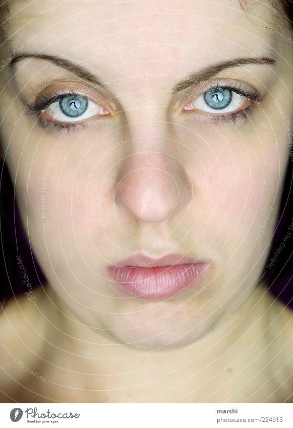 Durchblick Frau Mensch blau Gesicht Auge feminin Gefühle Stimmung Erwachsene Mund Haut Coolness natürlich Lippen beobachten Langeweile