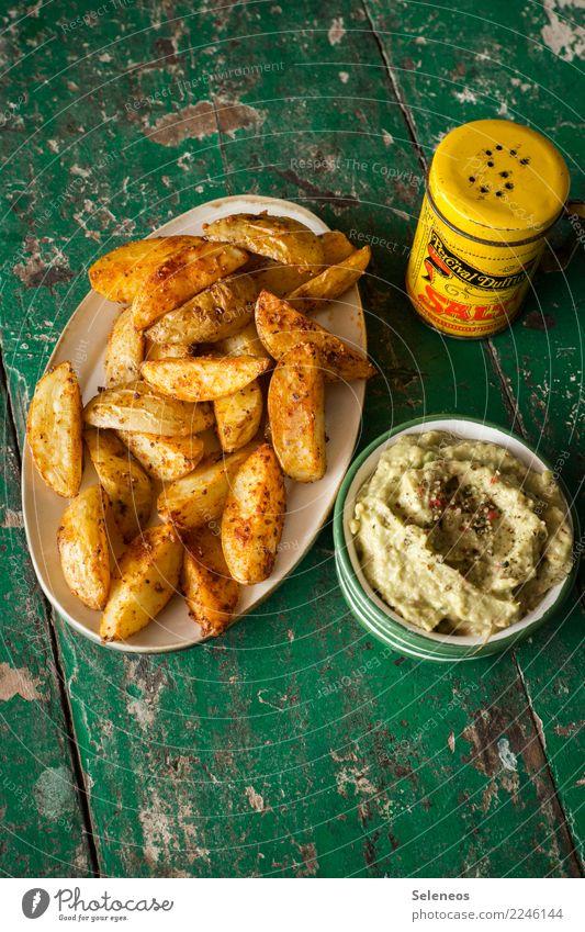 Kartoffelsnack Lebensmittel Milcherzeugnisse Gemüse Kartoffeln Kartoffelspalten Avocado Dip Salz Ernährung Essen Büffet Brunch Picknick Bioprodukte