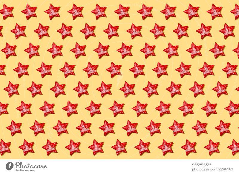 Weihnachtsstern wiederholte Muster Dekoration & Verzierung Tapete Feste & Feiern Weihnachten & Advent Ornament glänzend hell gelb rot Hintergrund Stern Feiertag