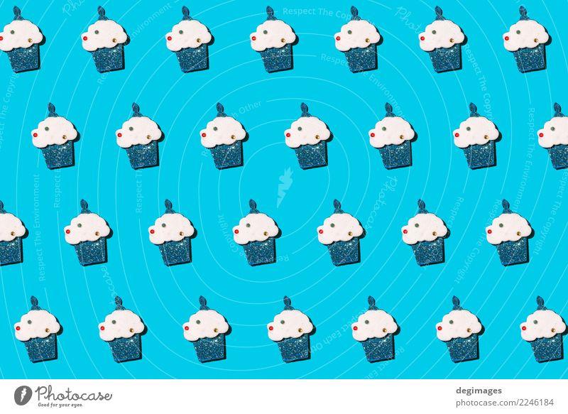 Muffin wiederholte Muster Dessert Design Glück Dekoration & Verzierung Tapete Feste & Feiern Geburtstag Kunst lecker niedlich blau rosa Hintergrund übergangslos