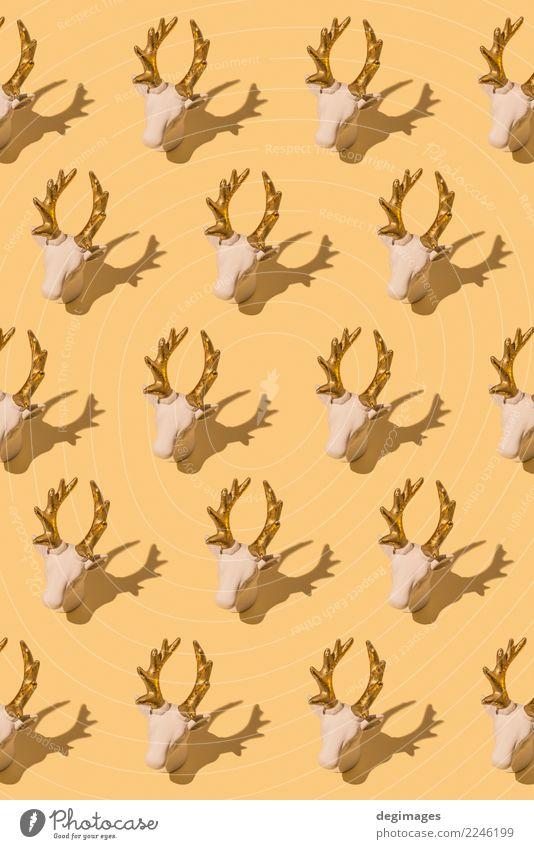 Reh wiederholte sich Design Winter Dekoration & Verzierung Weihnachten & Advent Mode Stoff Ornament retro rot weiß Tradition Hintergrund Hirsche Textil