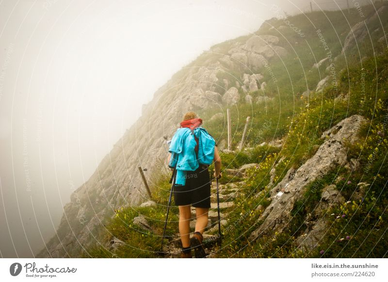 Auf dem Weg zu mir selbst Mensch Wolken ruhig Erholung Leben Berge u. Gebirge Freiheit Wege & Pfade Zufriedenheit gehen Felsen Nebel wandern Ausflug Abenteuer