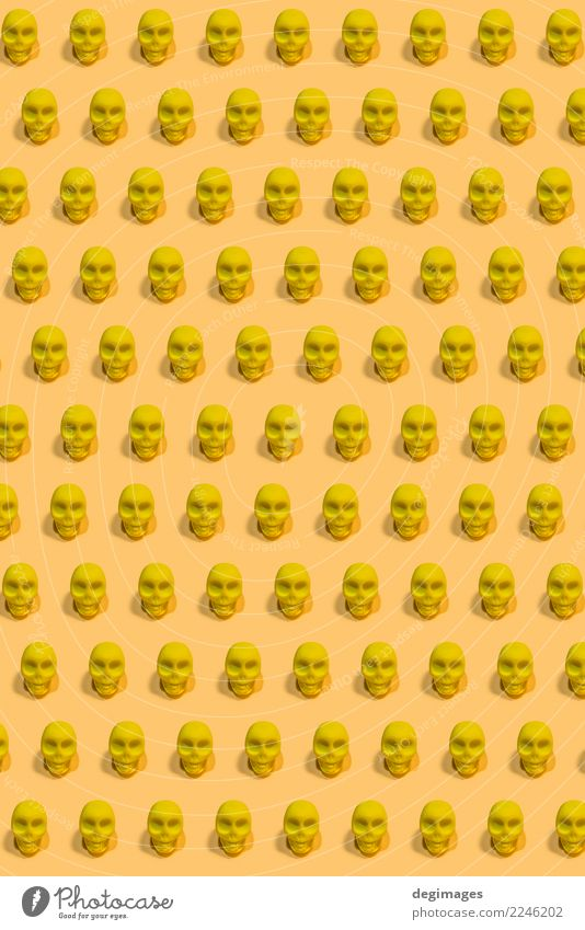 Gelbes Schädel-Muster Design Dekoration & Verzierung Halloween Mensch Kunst gelb weiß Tod Angst Entsetzen Farbe Hintergrund Knochen Mexiko Skelett Kopf