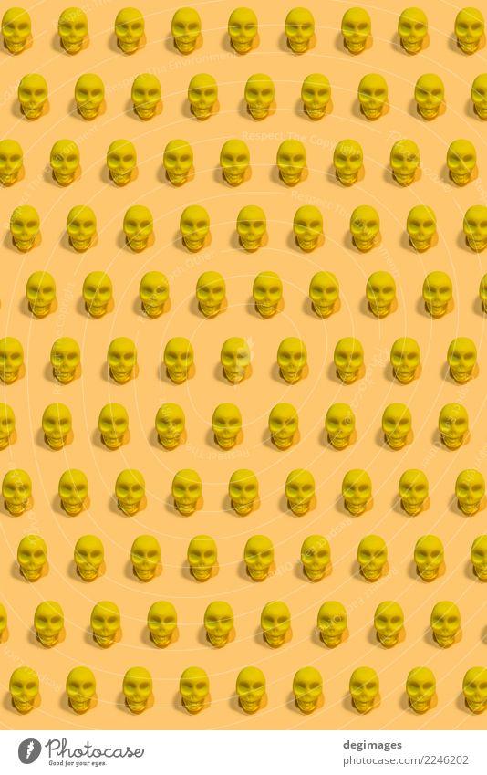 Mensch Farbe weiß gelb Kunst Tod Design Angst Dekoration & Verzierung Symbole & Metaphern Halloween Entsetzen Hölle Mexiko Skelett Knochen