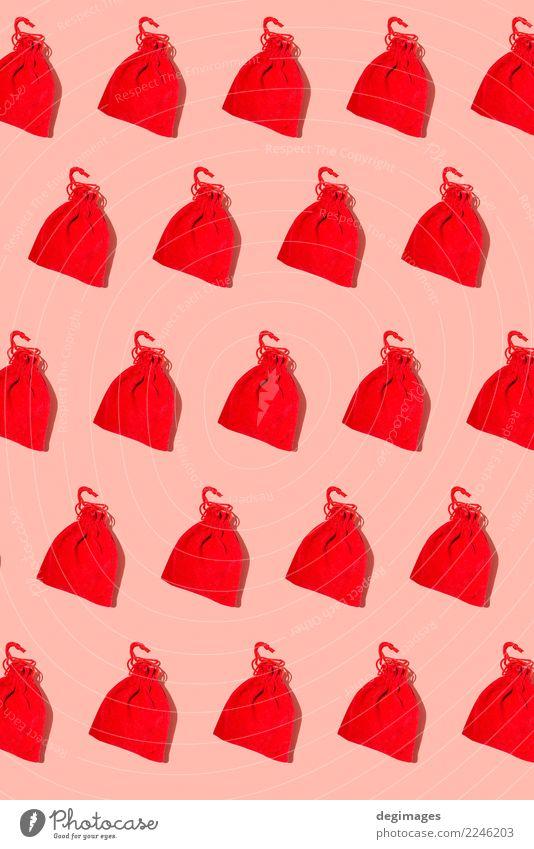 Sankt-Taschenmuster auf Rot Winter Dekoration & Verzierung Feste & Feiern Weihnachten & Advent neu rot weiß Weihnachtsmann Geschenk Claus Hintergrund Feiertag