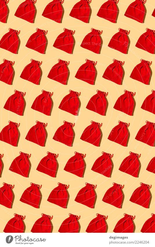 Sankt-Taschenmuster auf Gelb Winter Dekoration & Verzierung Feste & Feiern Weihnachten & Advent neu rot weiß Weihnachtsmann Geschenk Claus Hintergrund Feiertag