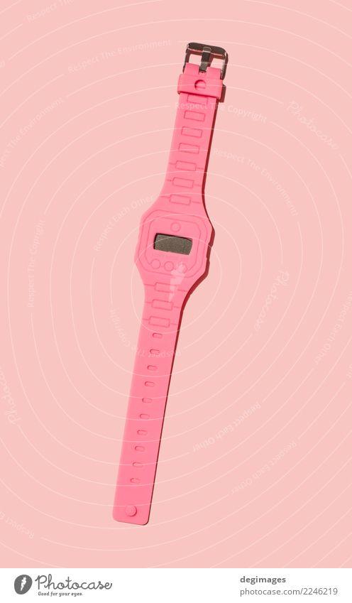 Helle rosa Farbuhr Stil Design Dekoration & Verzierung Uhr Business beobachten hell retro rot weiß Farbe Hintergrund vereinzelt Zeit farbenfroh Alarm Wand