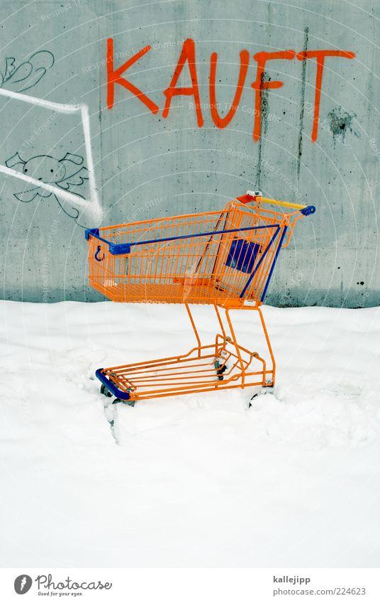 pr-eis-zeit Winter Einsamkeit Schnee Graffiti orange kaufen leer Lifestyle Werbung Wirtschaft Wort Handel Marketing Angebot Konsum Einkaufswagen
