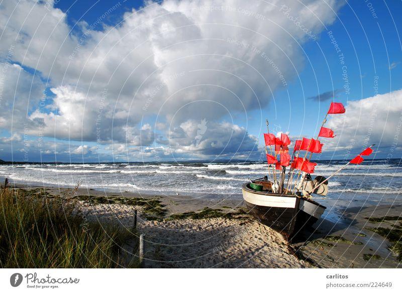 Das Boot Umwelt Natur Wasser Himmel Horizont Herbst Sturm Wellen Küste Ostsee Insel liegen ästhetisch Unendlichkeit natürlich blau rot Sehnsucht Bewegung