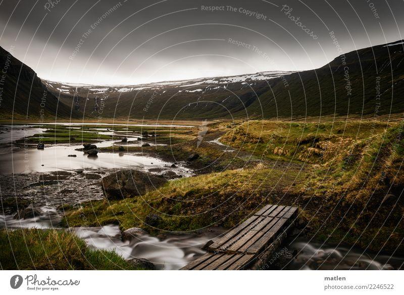 Tal der Wasserfälle Natur Landschaft Pflanze Himmel Wolken Gewitterwolken Horizont Frühling Wetter Regen Gras Wiese Berge u. Gebirge Schneebedeckte Gipfel Küste