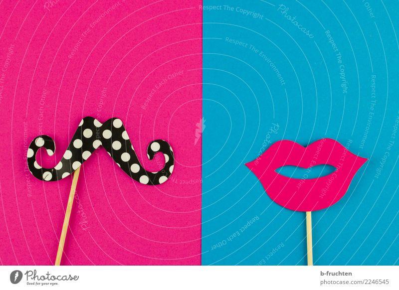 Gender - Rollenklischees Frau Mann blau Freude Erwachsene Liebe feminin rosa maskulin Kommunizieren Sex verrückt Idee Zeichen Lippen Bart