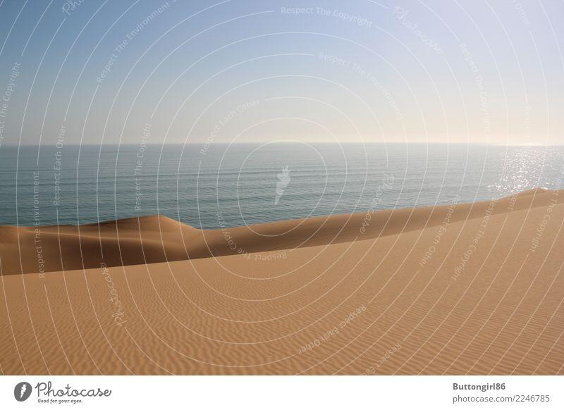 Am Ende der Wüste Landschaft Sand Wasser Himmel Wolkenloser Himmel Horizont Sonne Sonnenlicht Schönes Wetter Wellen Küste Meer Stimmung Afrika Namibia ozean