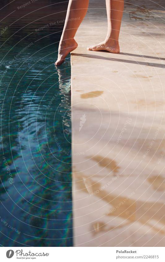 #A# Day At The Pool Kunst ästhetisch Schwimmbad Barfuß Versuch Vorsicht Hinweisschild zögern Frau berühren Wasseroberfläche Zehen Fuß entdecken Farbfoto