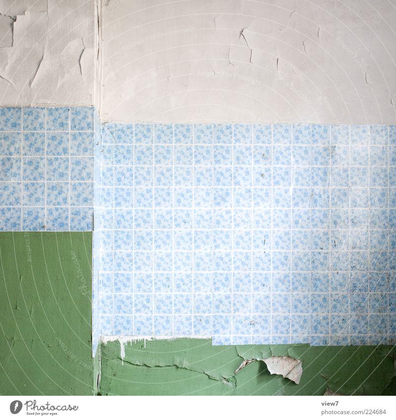 Zeitgeist Wohnung Dekoration & Verzierung Tapete Raum Beton Linie Streifen alt dunkel einfach elegant frisch kaputt blau grün ästhetisch Design Verfall