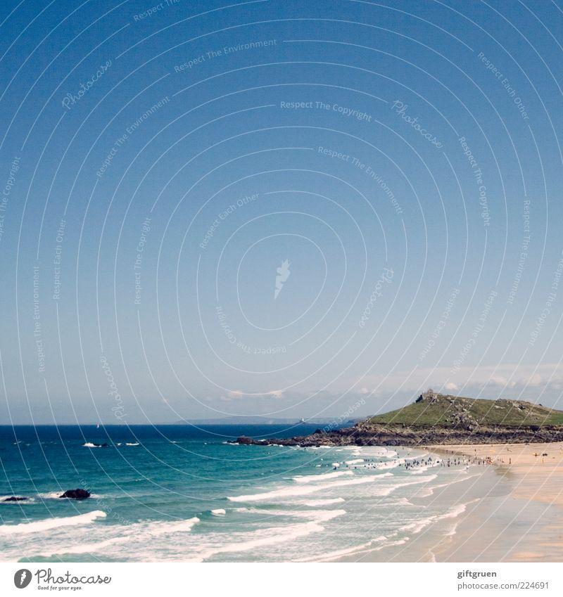 sonnige aussichten Himmel Natur Wasser Sommer Strand Ferien & Urlaub & Reisen Meer Ferne Berge u. Gebirge Landschaft Umwelt Sand Küste Wellen Horizont Felsen