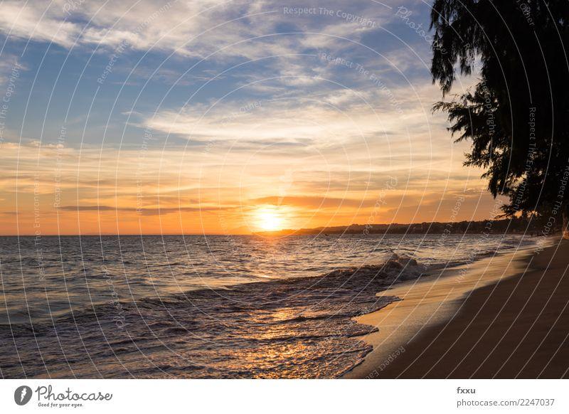 Mui Ne Strand Sonnenuntergang Abenddämmerung Meer gold mehrfarbig Wolken Lichtstimmung Himmel Natur Landschaft Vietnam mui ne sündvietnam Sommer genießen