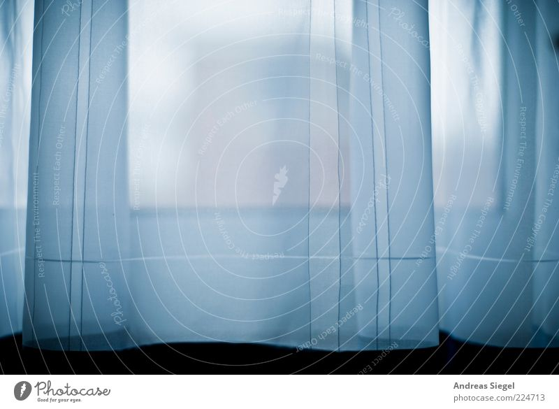 Ein Hauch Wohnung Raum Gardine Fenster Linie Streifen authentisch dunkel frisch hell kalt trist blau weiß ästhetisch Leichtigkeit Stil zart Windzug einfach