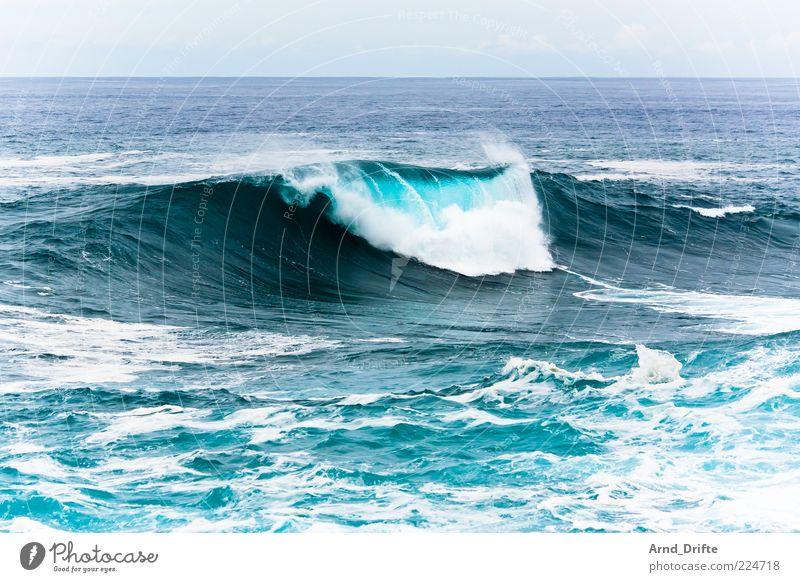 Welle II Strand Meer Wellen Unwetter Sturm Küste groß Hintergrundbild Brandung Gischt Farbfoto Außenaufnahme Tag Kraft Wasserkraftwerk schäumen Ferne brechen