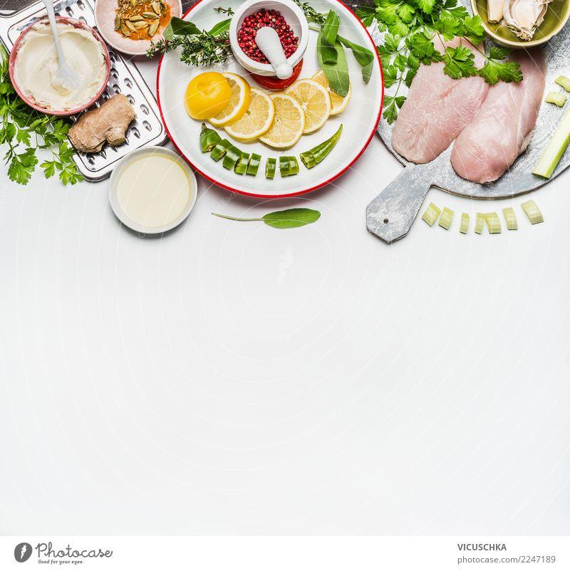 Hähnchenbrustfilet und Gemüse Zutaten Lebensmittel Fleisch Ernährung Mittagessen Abendessen Bioprodukte Diät Geschirr Stil Design Gesundheit Gesunde Ernährung