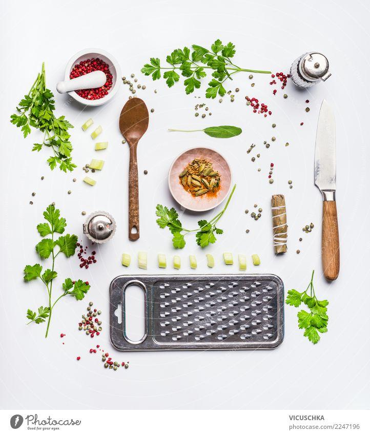 Gesund essen un kochen Lebensmittel Ernährung Bioprodukte Vegetarische Ernährung Diät Geschirr Stil Design Gesundheit Gesunde Ernährung Ornament Entwurf