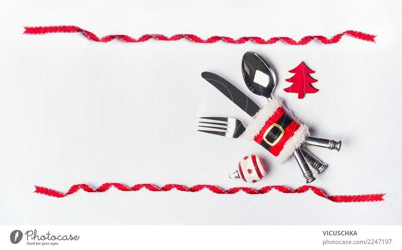 Hintergrund mit Weihnachtstisch Gedeck Festessen Besteck Stil Design Party Veranstaltung Restaurant Feste & Feiern Weihnachten & Advent Dekoration & Verzierung