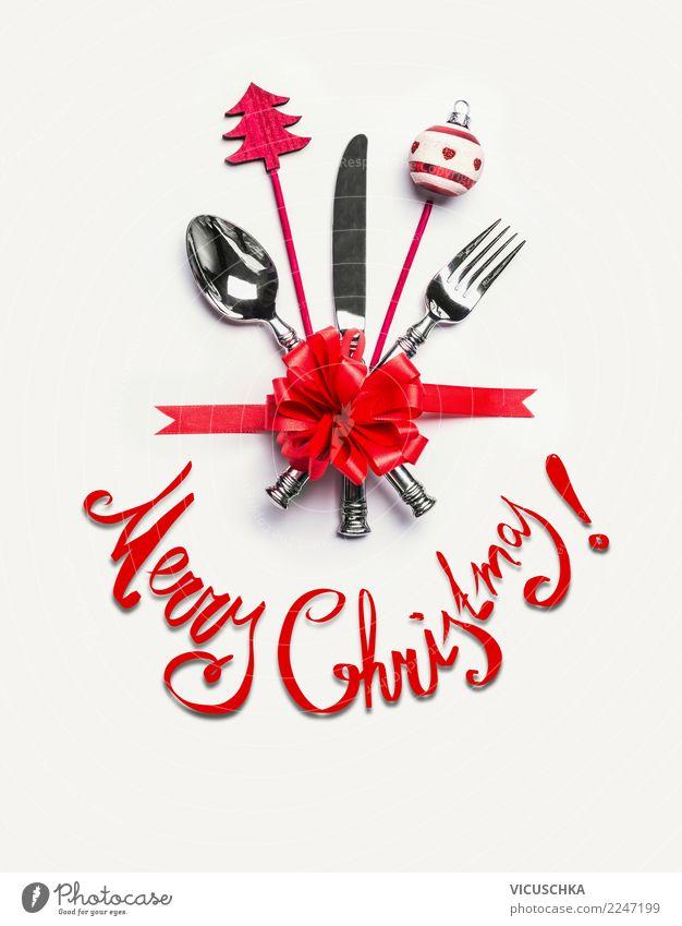 Merry Christmas Weihnachtskarte Festessen Besteck Stil Design Winter Party Veranstaltung Restaurant Feste & Feiern Weihnachten & Advent Dekoration & Verzierung