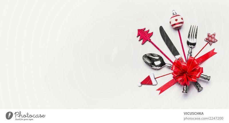 Hintergrund mit Weihnachtsdekoration undTischbesteck Weihnachten & Advent rot Hintergrundbild Stil Feste & Feiern Design Textfreiraum Dekoration & Verzierung