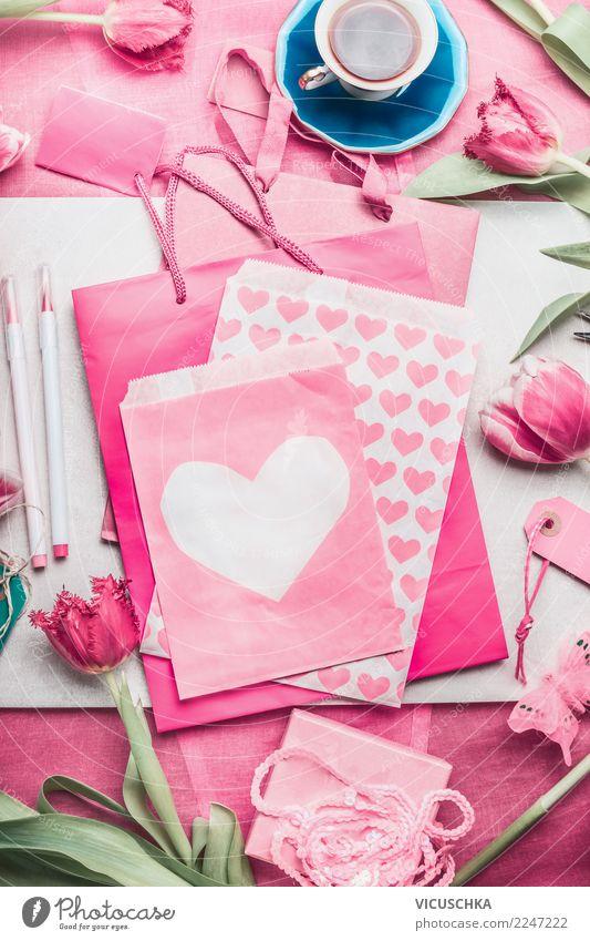 Grußkarte Für Mütter, Valentinstag Oder Geburtstag Basteln Liebe Stil Feste  U0026 Feiern Rosa Design Textfreiraum