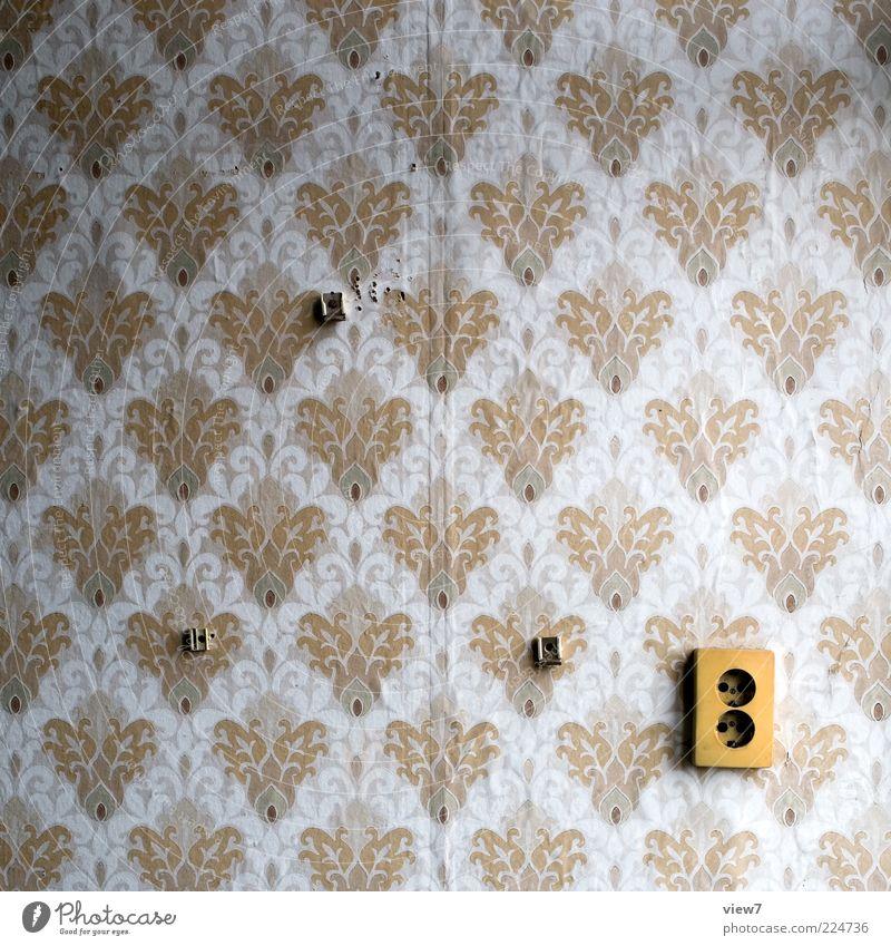 Lebenswelten Dekoration & Verzierung Tapete Raum Zeichen Ornament alt ästhetisch dreckig einfach Freundlichkeit Fröhlichkeit retro Klischee braun Design Verfall