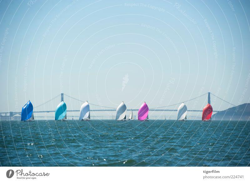 rasende Segelboote in Folge Golden Gate Bridge Bucht blau Wasserfahrzeug Kalifornien Meisterschaft Farbe Reihe Konkurrenz Vorfeld San Francisco September